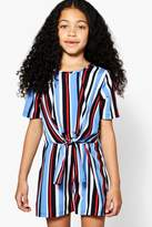 boohoo Girls Stripe Knot Front Playsut
