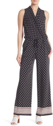 Max Studio Surplice Neck Drawstring Printed Jumpsuit