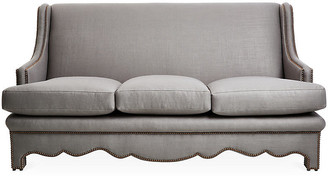 "Bunny Williams Home Nailhead 75"" Sofa - Gray Linen upholstery, gray; nailheads, bronze"