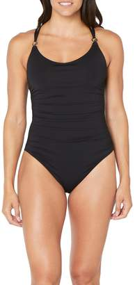 Nautica Double Strap Ruched One-Piece Swimsuit