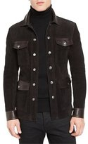 Tom Ford Suede & Leather 4-Pocket Shirt Jacket, Brown