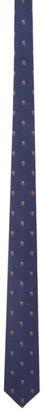 Alexander McQueen Navy Silk Skull and Polka Dots Tie