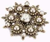 "Liz Palacios Piedras"" Swarovski Elements Crystal and Pearl Starburst Pin"
