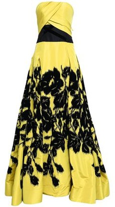 Carolina Herrera Strapless Flocked Printed Silk-faille Gown