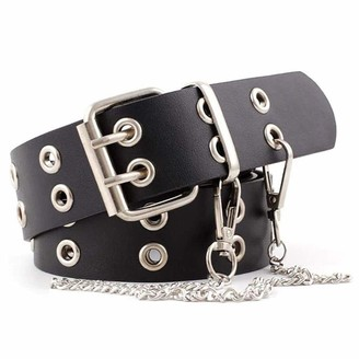 Reyok Belt for Women Double Grommet PU Leather Belt The Hole Double Prong Womens Belts for Jeans