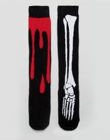 Asos Halloween Long Length Socks With Skeleton & Blood Drip 2 Pack