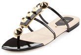 Fendi Gold Edition Studded Patent Thong Sandal, Black/Gold