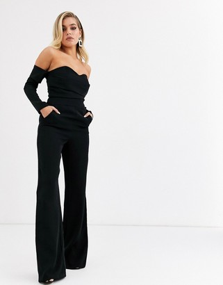 Bardot Yaura jumpsuit with corset detail in black