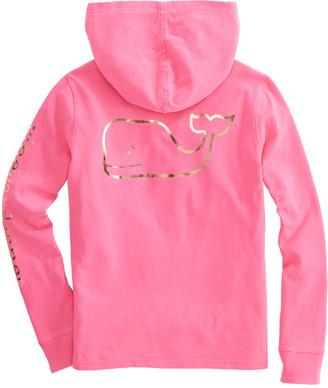 Vineyard Vines Girls Foil Whale Hoodie Long-Sleeve Pocket Tee