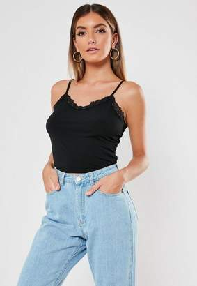 Missguided Lace Trim Jersey Crop Top