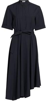 Brunello Cucinelli Asymmetric Monili-Trim Wool Shirtdress
