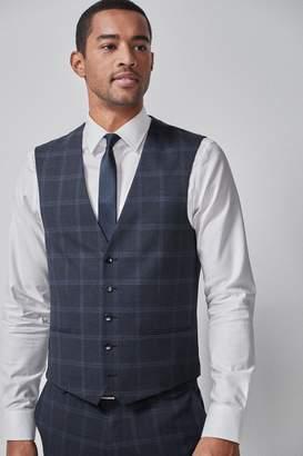 Next Mens Blue Wide Lapel Check Suit: Waistcoat - Blue