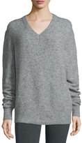 Joseph Fine Tweed V-Neck Pullover Sweater, Marble