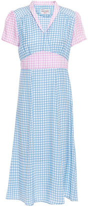 HVN Morgan Gathered Gingham Silk Crepe De Chine Dress