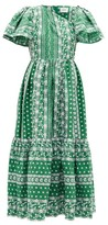 Erdem Palomina Floral-embroidered Cotton-poplin Dress - Womens - Green White
