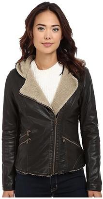 Levi's Asymmetrical Faux Leather Hooded Moto w/ Sherpa (Dark Brown) Women's Coat