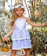 Mia Belle Girls Girls' Casual Dresses Blue - Blue Gingham Lace-Trim Heart Applique Sleeveless Dress - Toddler & Girls