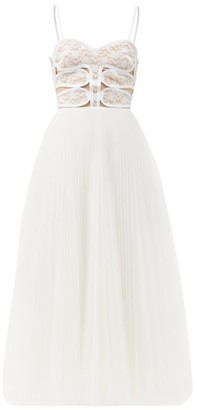 Christopher Kane Lace-bodice Pleated Tulle Dress - White