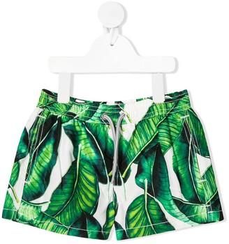 MC2 Saint Barth Banana Leaves Print Swim Shorts