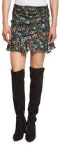 Veronica Beard Violet Floral Silk Ruffle Mini Skirt, Black/Multicolor