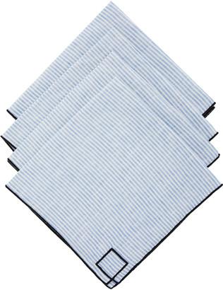 Los Encajeros Set-Of-Four Blue Striped Linen Napkins