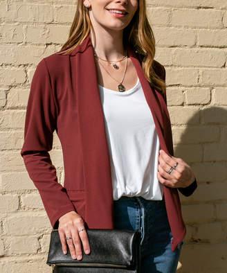 Doublju Women's Non-Denim Casual Jackets BERRY - Berry Pocket Open-Front Soft Jacket - Women