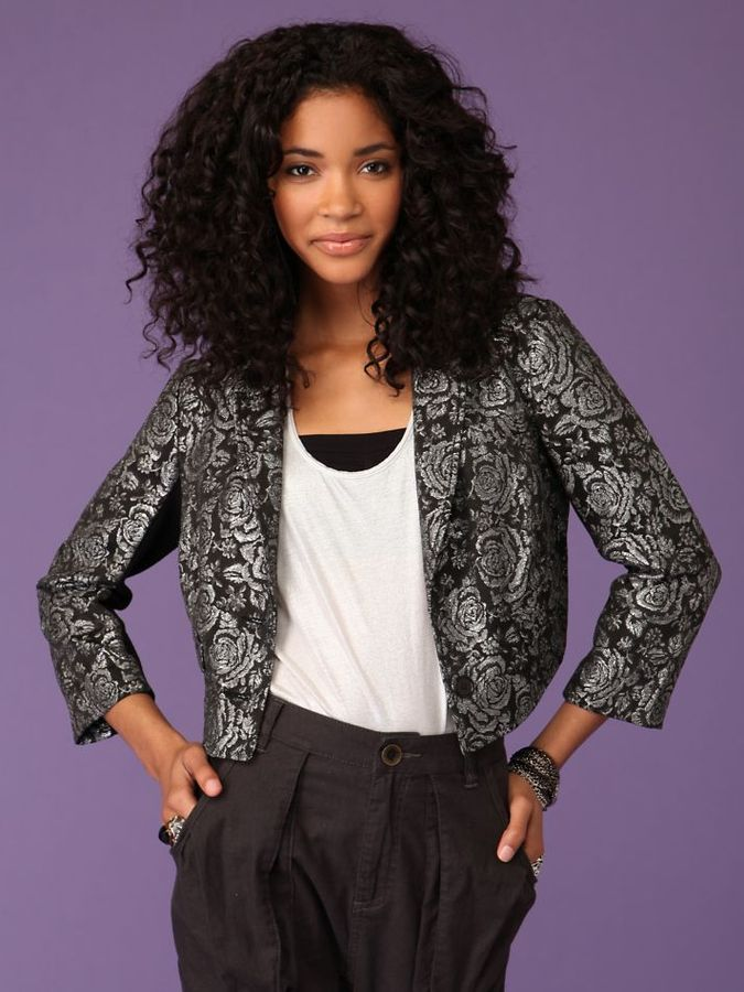 Free People Cropped Brocade Blazer
