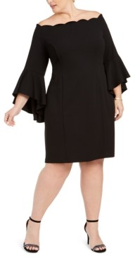 MSK Plus Size Bell-Sleeve Off-The-Shoulder Dress