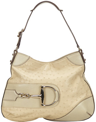 Gucci White Ostrich Leather Hasler Hobo Bag