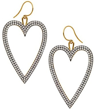 Adriana Orsini Edgy Two-Tone & Pave Heart Drop Earrings