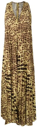 Adriana Degreas Leopard Print Pleated Dress