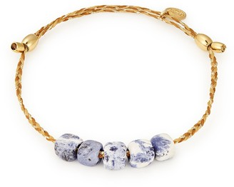 Alex and Ani 14K Gold Plated Sterling Silver Genuine Sodalite Adjustable Sliding Bead Bracelet