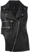 Barbara I Gongini sleeveless biker jacket - women - Cotton/Sheep Skin/Shearling - S