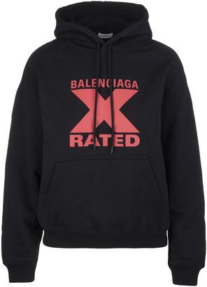 Balenciaga Black Woman Hoodie With X-rated Print