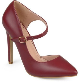 Brinley Co. Women's Faux Leather Pointed Toe D'orsay Ankle Strap Heels