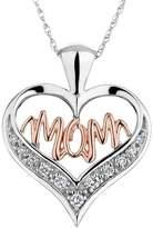 Pretty Jewellery Round Diamond Mom Heart Pendant W/ 18'' Chain in 14K Two-Tone Gold Over 925 Silver