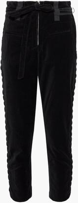 IRO Cropped Lace-up Velvet Slim-leg Pants