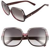 MCM Women's 58Mm Square Sunglasses - Striped Grey/ Wine