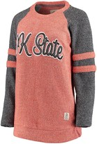 Unbranded Women's Pressbox Orange Oklahoma State Cowboys Dawn Twisted Terry Raglan Sleeve Stripe Crew Sweatshirt