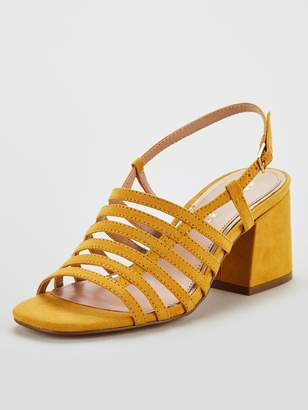 Very Georgia Strappy Mid Block Heel Sandals - Mustard