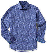 Stone Rose Guitar Print Long-Sleeve Woven Shirt