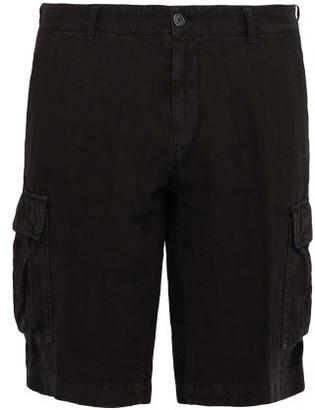 Once Milano - Crushed Linen-poplin Cargo Shorts - Mens - Black