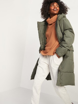 Old Navy Faux-Fur Lined Hooded Long Puffer Coat for Women