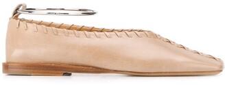 Jil Sander Whipstitch Trim Ballerina Shoes