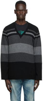 Undercover Black Stripe V-Neck Sweater