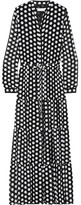 MICHAEL Michael Kors Tiered Polka-dot Georgette Maxi Dress - Black
