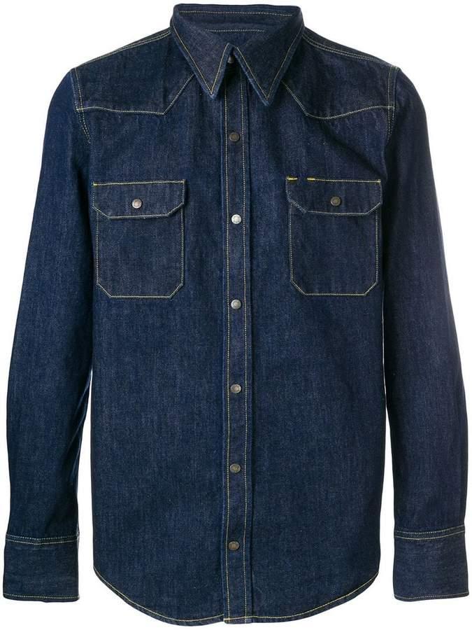 Calvin Klein denim contrast stitching shirt