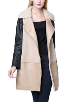 Beige & Black Color Block Faux Shearling Jacket