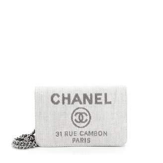 Chanel Wallet on Chain Grey Cloth Handbags