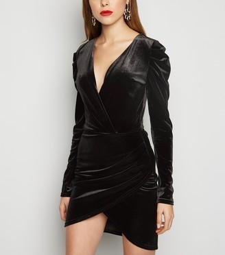 New Look Velvet Puff Long Sleeve Bodycon Dress